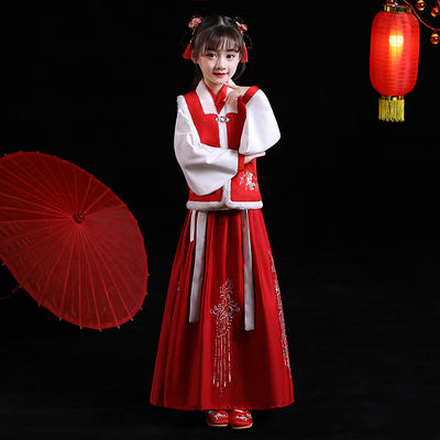 Chinese Hanfu girls new years dress childrens Chinese style little girls babys Tang style jacket skirt