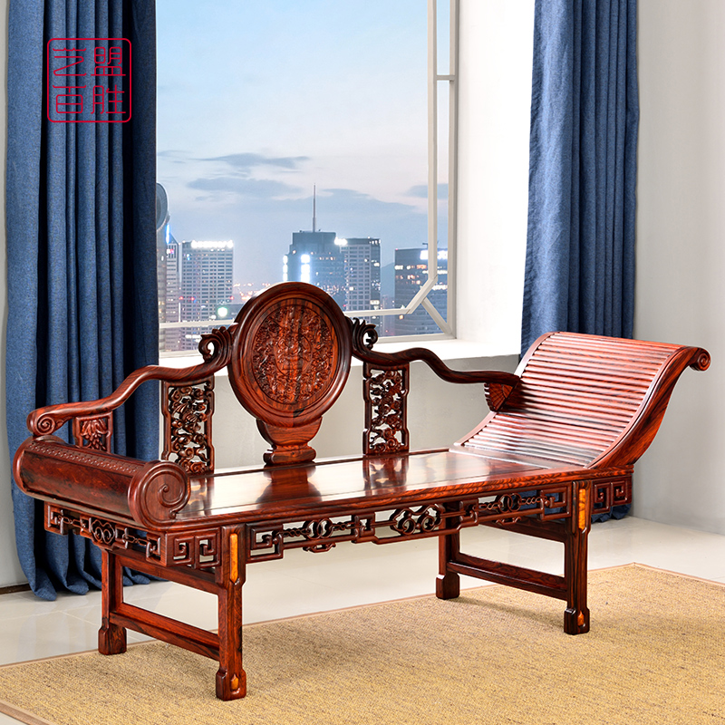 Yimen Yum Mahogany Chaifuchair chair slightly concave yellow sandalwood Chinese beauty bedroom single lounge chair red acid branch casual bed.