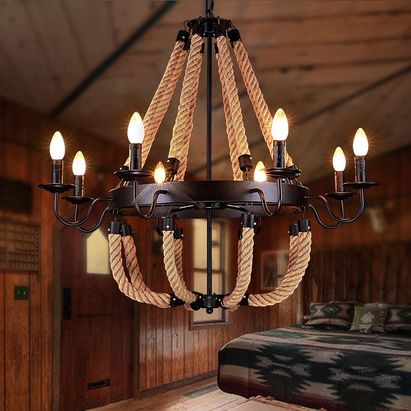 美式吊灯复古工业灯个性风创意麻绳理发店服装店咖啡厅装饰乡村