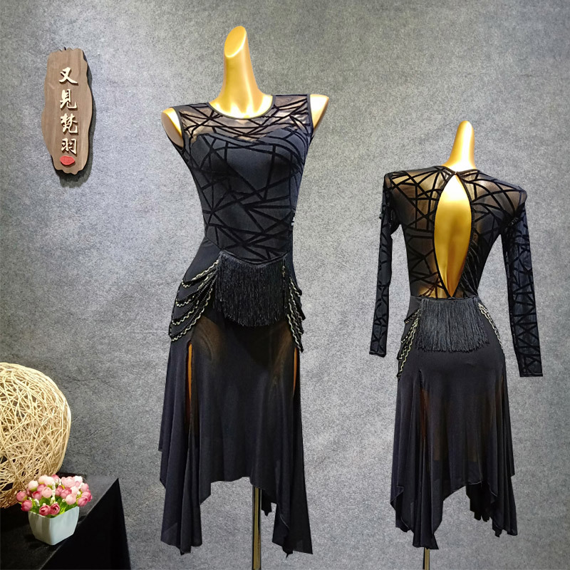 YJFY Latin Dance Adult Dance Dress Latin Dress Female Dress Latin Performance Dress W340