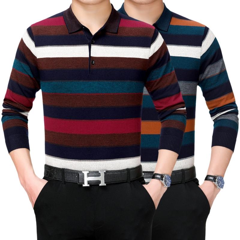 高档大爸爸中年长袖商务T恤有领男士装春季品牌羊绒195大码男装体