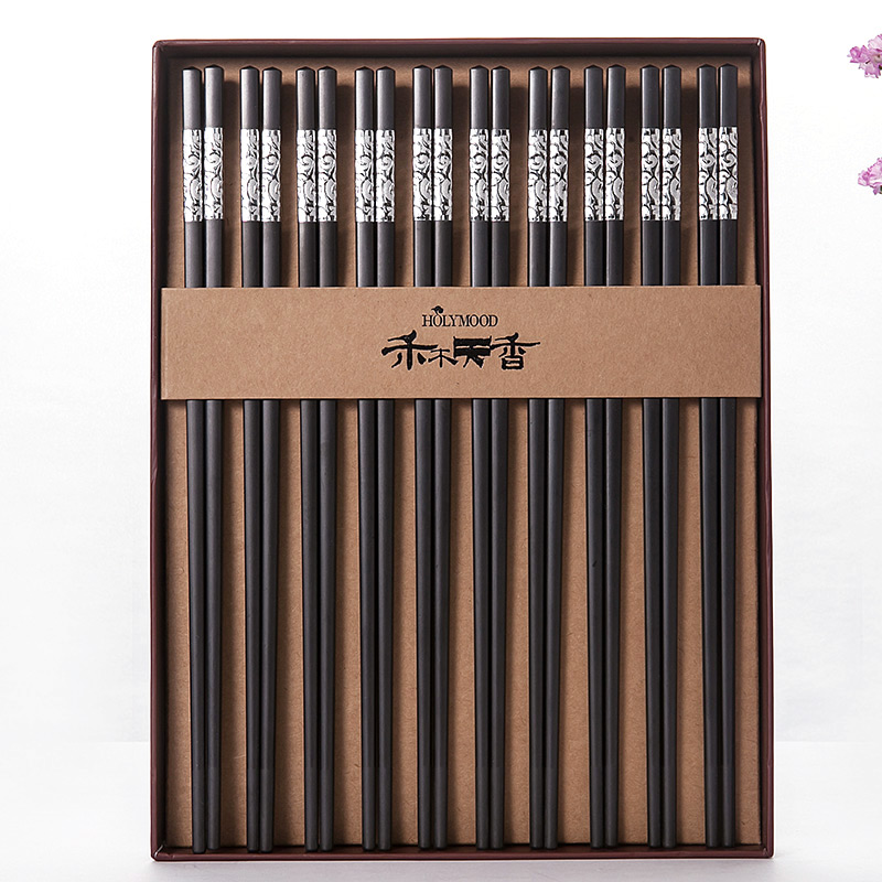 合金筷乌镇筷子店同款10双装 24k镀金禾木天香国泰礼盒