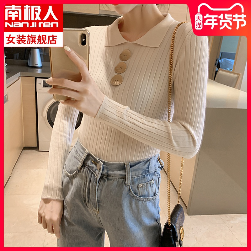 Knitted sweater women's long sleeve slim tight winter polo lapel spring and autumn shirt 2019 New pullover sweater