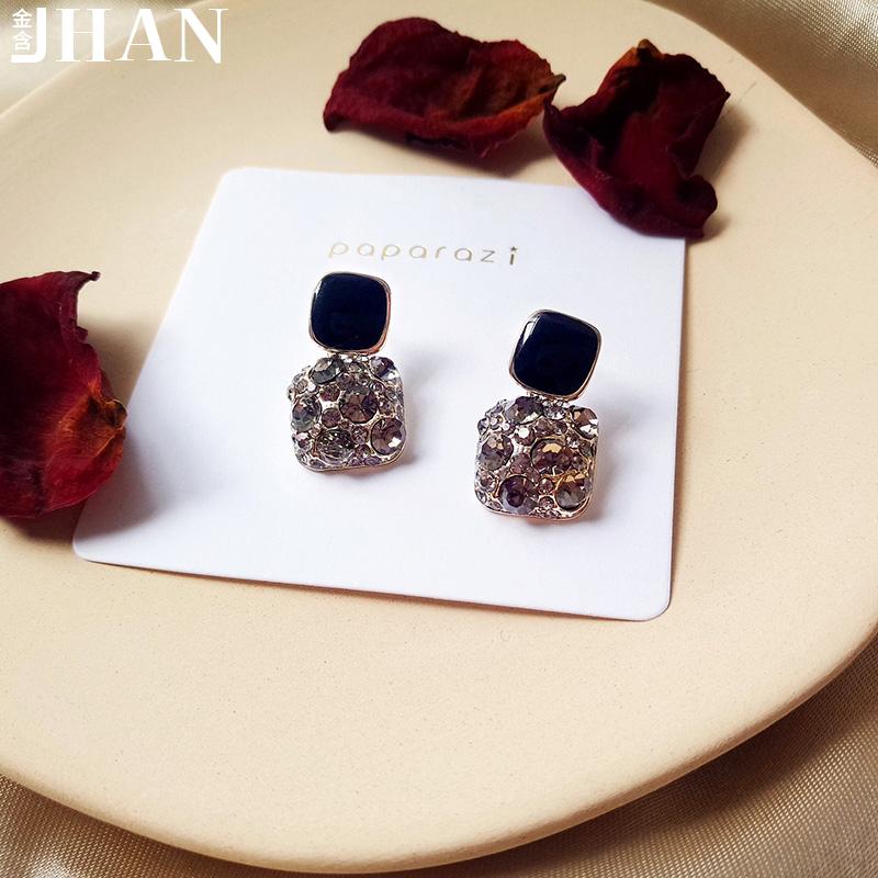 耳釘2019新款潮女韓國個性氣質鋯石耳墜高級感網紅純銀耳環耳飾品