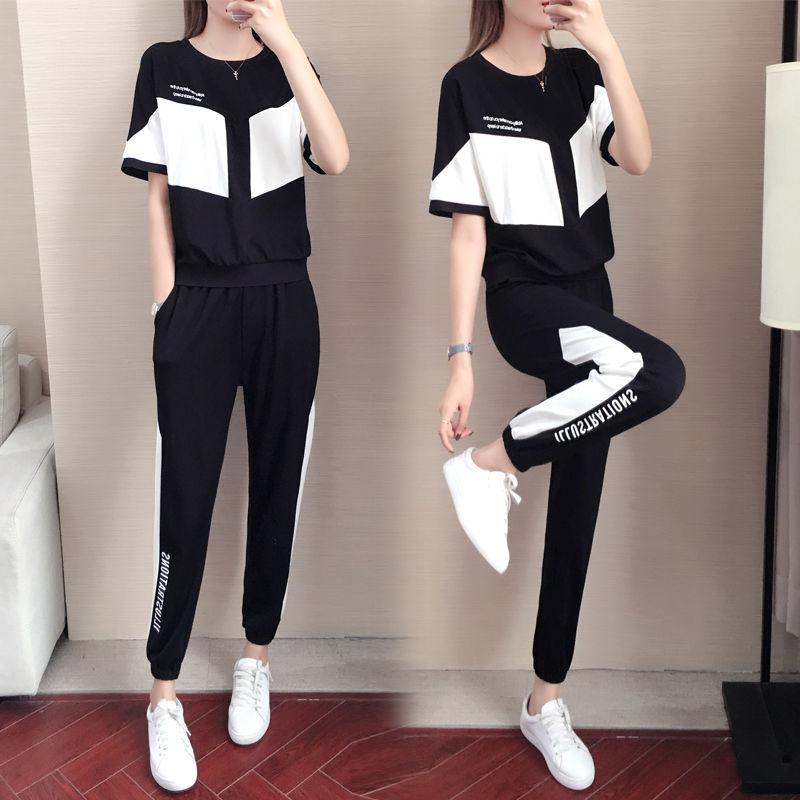 潮牌2020夏季新款休閑運動套裝女韓版寬松時尚短袖跑步服兩件套