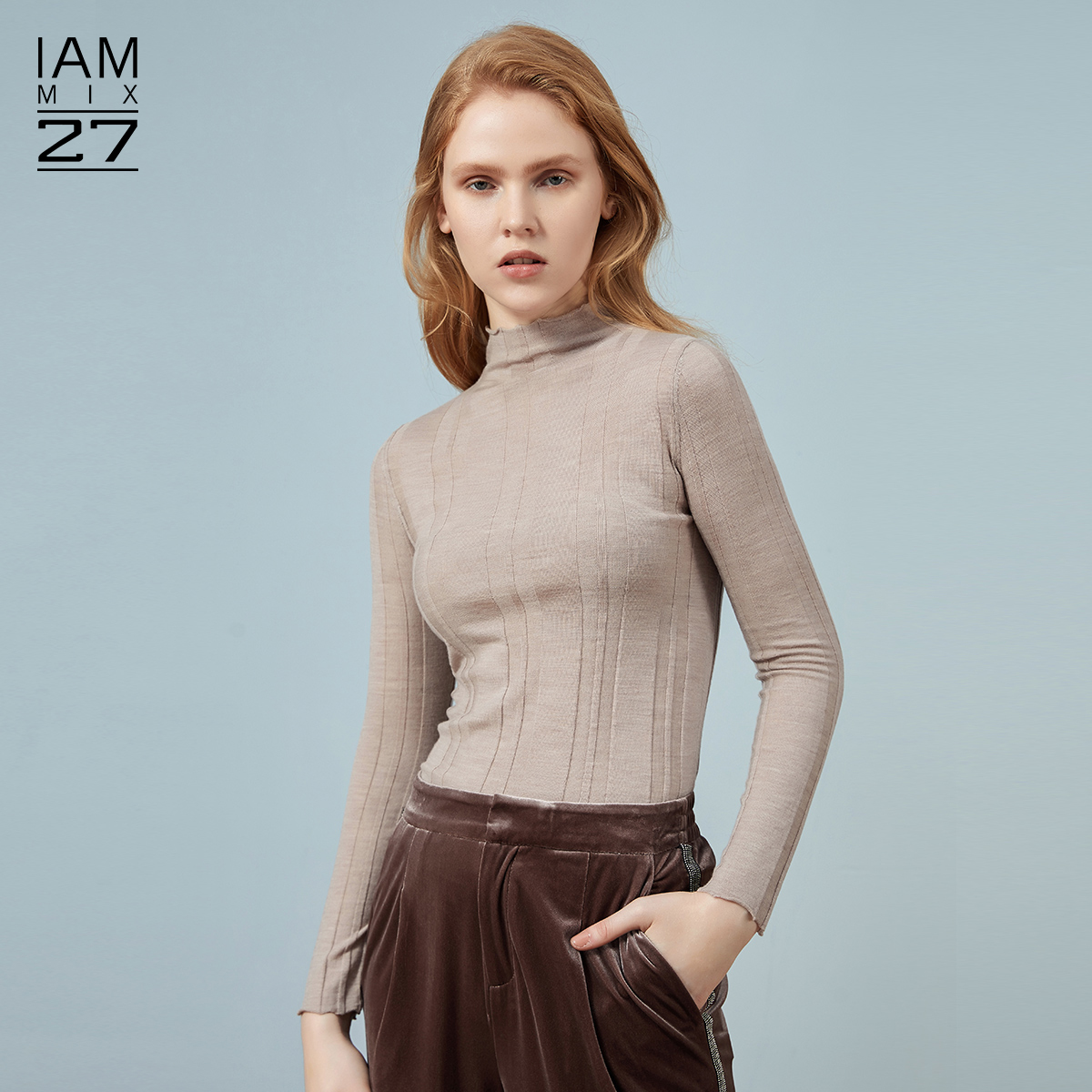 IAmMIX27 semi-high-necked sweater women's autumn/winter body set-up bottoms women's pure color cardigan women's thin