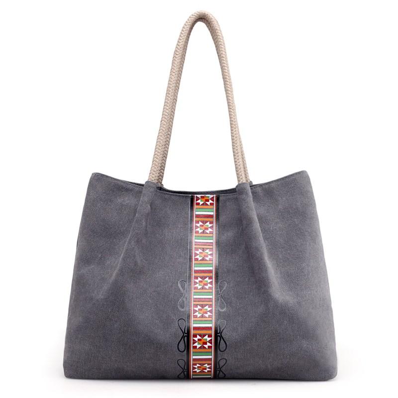 新款包包帆布包女士范休闲包韩版袋式单肩包手提大包v包包女包文艺