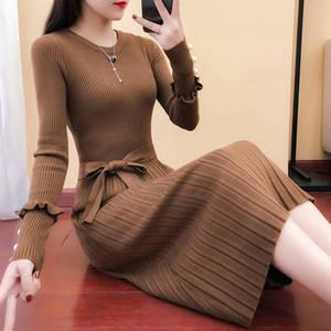 新款女装长款针织衫连衣裙百褶裙