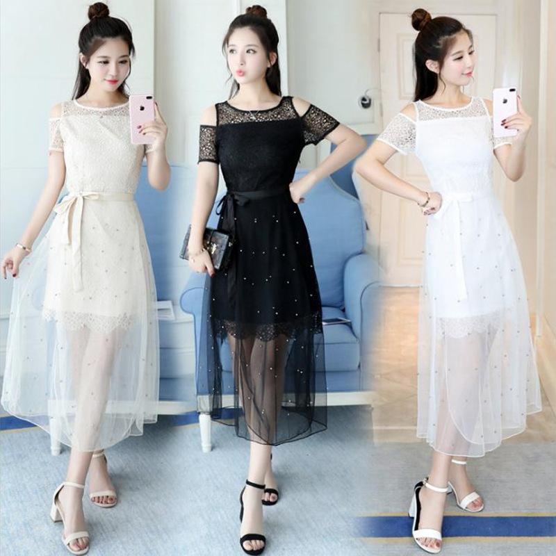3   夏季连衣裙女中长款蕾丝雪纺短袖大码显瘦网纱两件套裙子潮