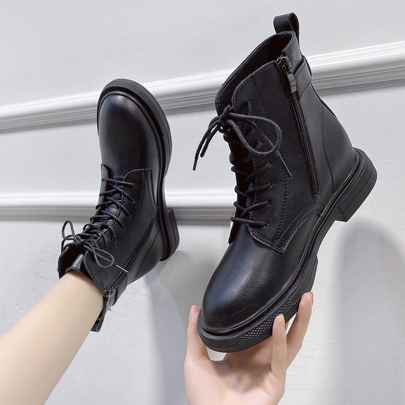 英伦风马丁靴女秋冬季薄款单靴2020年新款百搭加绒短靴子潮ins酷