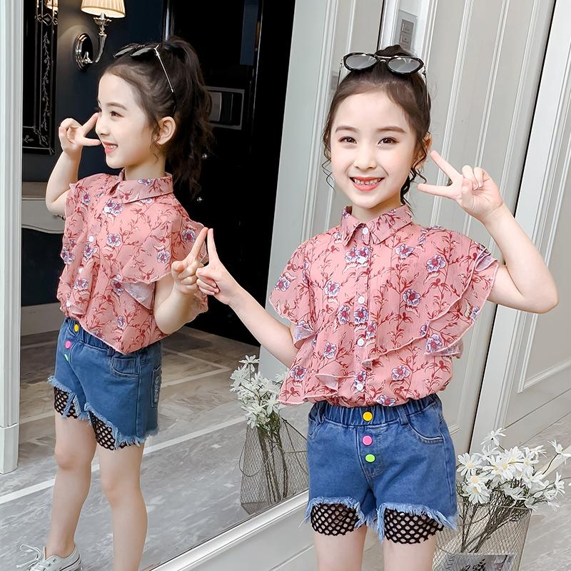 女童雪纺短袖2020新款韩版衬衫衬衣洋气中大童儿童女孩上衣夏装潮