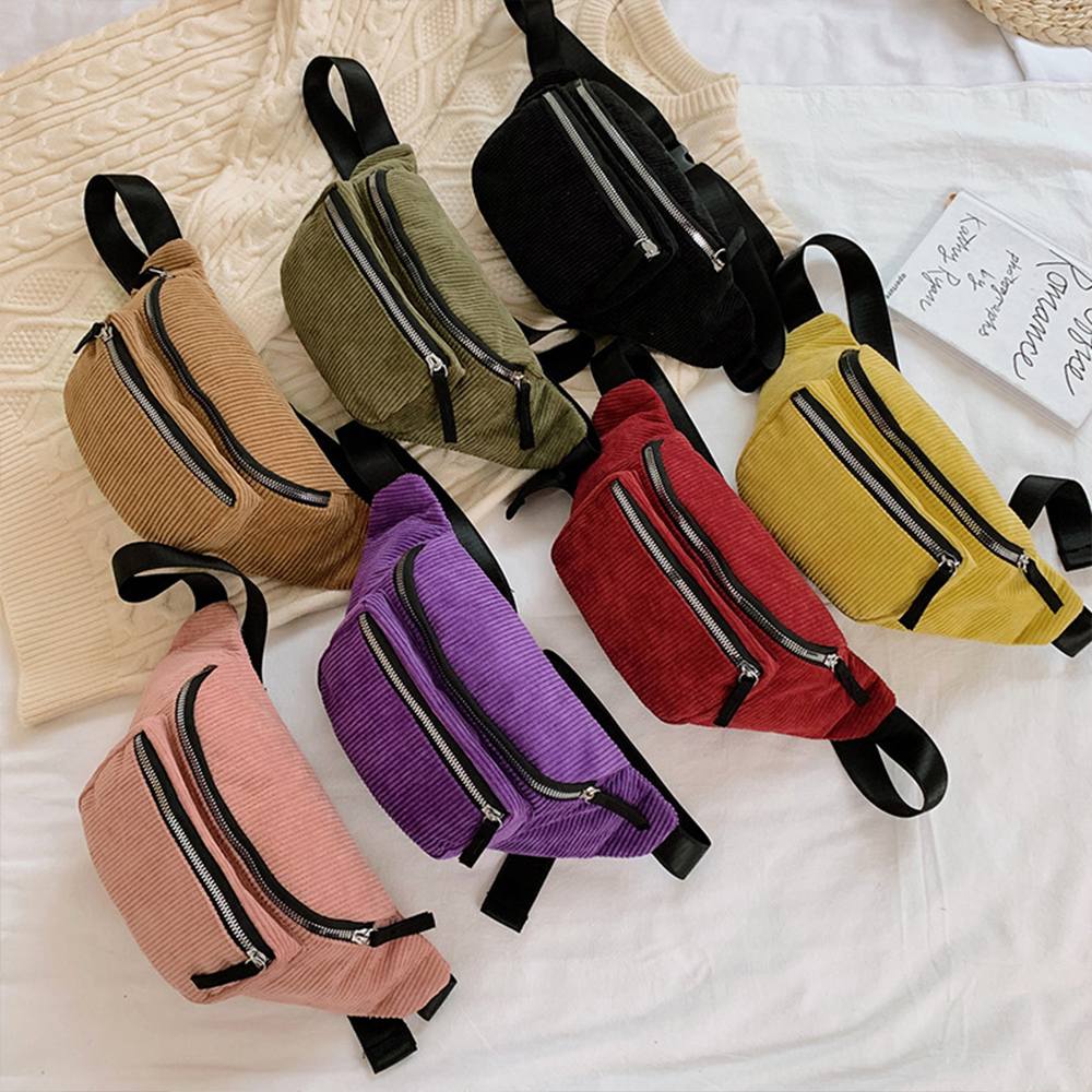 corduroy Waist Bag designer Zipper Chest Bag Sport travel