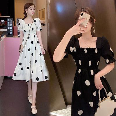 夏季款连衣裙气质显瘦时尚方领泡泡袖韩版波点高腰长裙子孕妇裙子