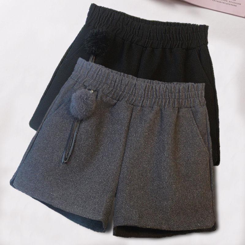 新款韩版大码秋冬短裤女裤子短裤女外穿宽松高腰v秋冬阔腿呢子毛呢