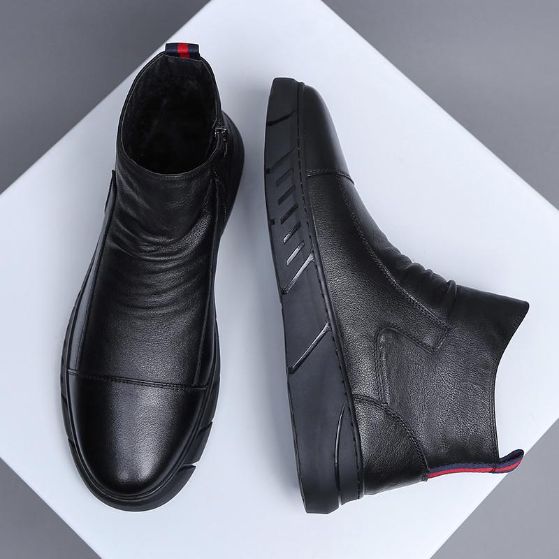 马丁靴子男靴潮流百搭短靴黑色真皮英伦圆头中帮软底手工软皮靴男