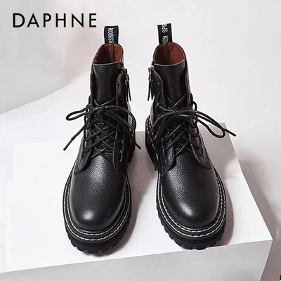 Daphne Martin boots women's 2020 summer new wild British style black ins tide net boots high-top leather ankle boots