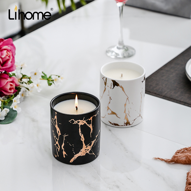 Lihome marble-printed scented candle cup lavender god smokeless home bedroom fragrance candle romantic gift