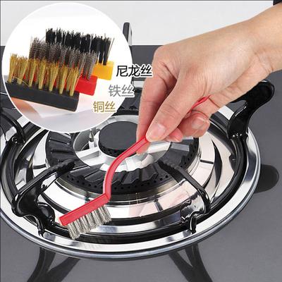 日本厨房用刷煤气灶清洁刷油烟机灶台去污刷尼龙刷除锈钢丝刷子