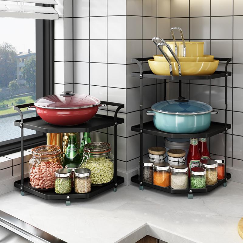 厨房置物架台面放锅架子多功能家用 转角调料锅具收纳架 家居用品