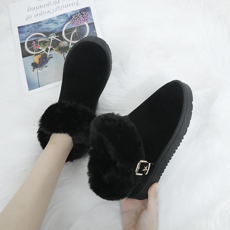 靴子靴女短筒懒人皮毛2019冬季新款雪地短筒加绒加厚一体平底时尚