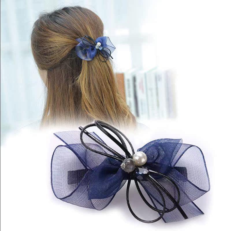 韩国新款发夹唯美雪纺纱小仙女双蝴蝶结a发夹发夹头饰夹弹簧发饰女