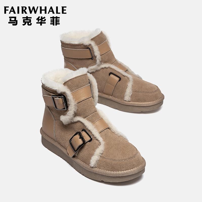 马克华菲羊毛雪地靴短筒厚底