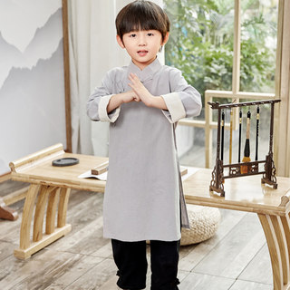 Children's Hanfu Boys Spring/Summer Long Cotton and Linen Robes, Horse Coats, Chinese Cross-talk, Martial Arts May 4th Republic of China Long Gown