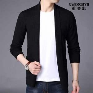 Thương hiệu áo len dệt kim rắn màu cho nam mùa xuân và mùa thu Áo nam mỏng, áo len mỏng màu đẹp trai - Áo len cổ tròn