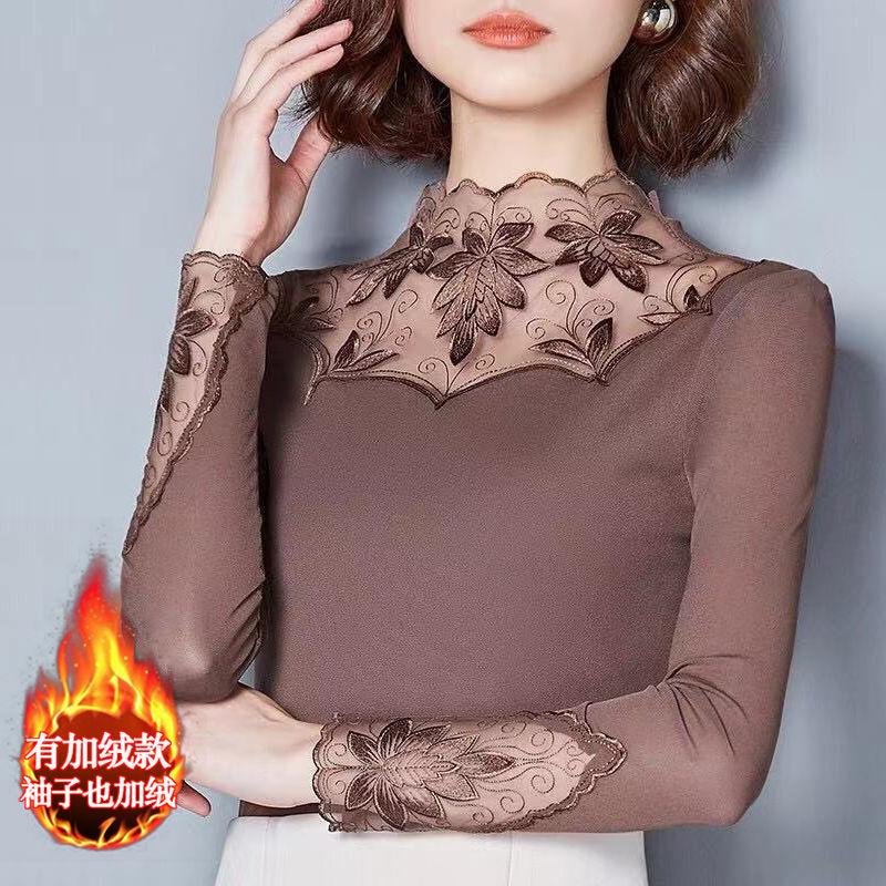 薄款\\\/加绒蕾丝网纱打底衫长袖t恤修身蕾丝上衣小衫保暖衣大码女装
