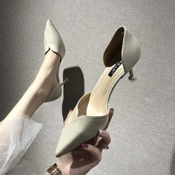 Fall 2020 new wind fairy heels pointed fine with female wild white wedding shoes, bridesmaid shoes, small yards shoes