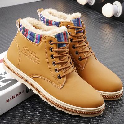 冬季加绒棉鞋马丁靴男工装靴子英伦风中帮潮高帮保暖沙漠秋季韩版