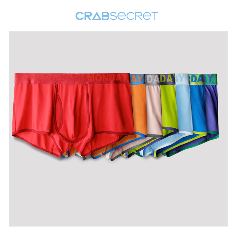 7 gift boxes crab secret men's underwear modal hit color sexy colorful week pants boxer briefs men