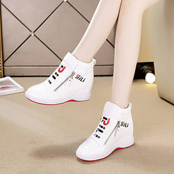 Inner increase small white women's shoes 2020 autumn and winter new Korean version of all-match casual sports high-top shoes wedge single shoes women