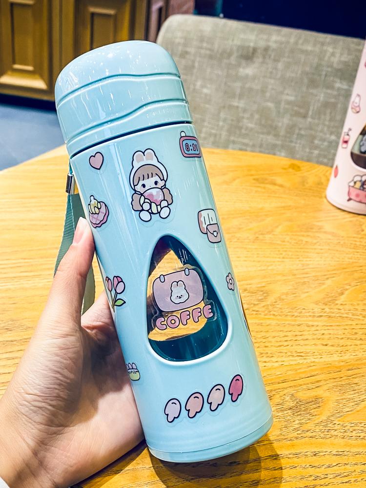 可携式透明双层带盖子玻璃杯简约带盖子办公室泡茶杯水杯女学生随行杯详细照片