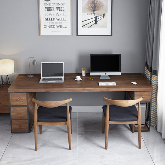 Loft solid wood table office computer desk with drawer cabinet integrated retro home multi-person writing desk