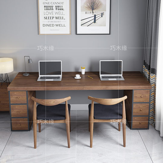 Loft solid wood table office computer desk with drawer cabinet integrated simple retro home double writing desk