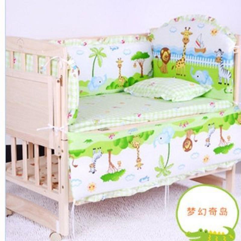 Bộ đồ giường cho bé nôi trẻ em Bộ đồ giường trẻ em Bộ đồ giường trẻ em bằng cotton nguyên chất có thể tháo rời và có thể giặt Bộ năm mảnh - Bộ đồ giường trẻ em