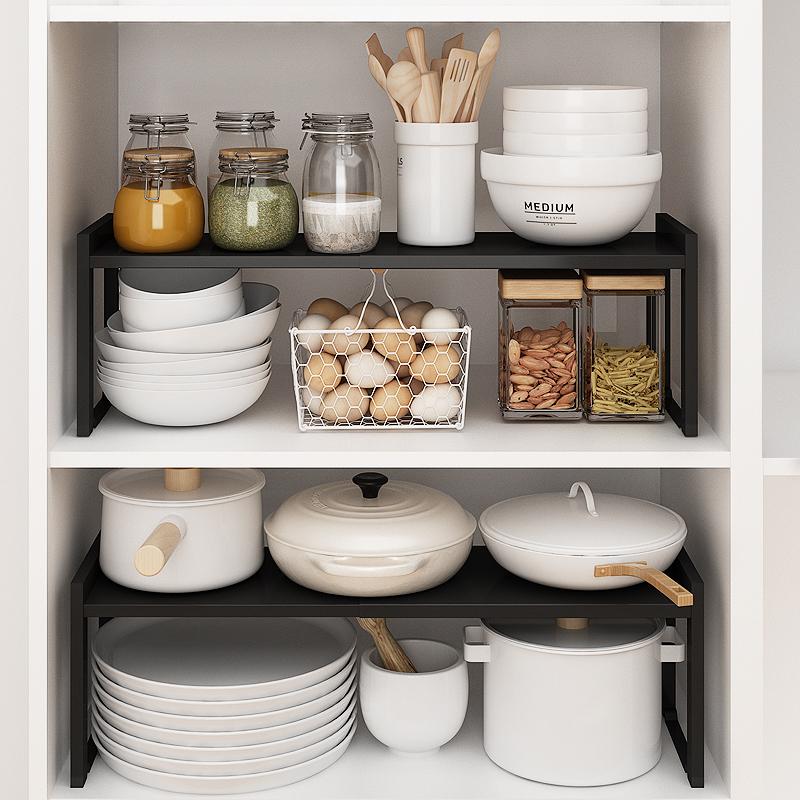橱柜置物架柜内柜子分层架台面收纳隔板锅架水槽下伸缩厨房置物架