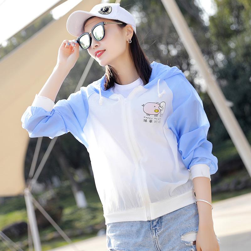 卡通拼色女士防曬服 學生短款防紫外線防曬衣 可愛韓版超薄速干衣