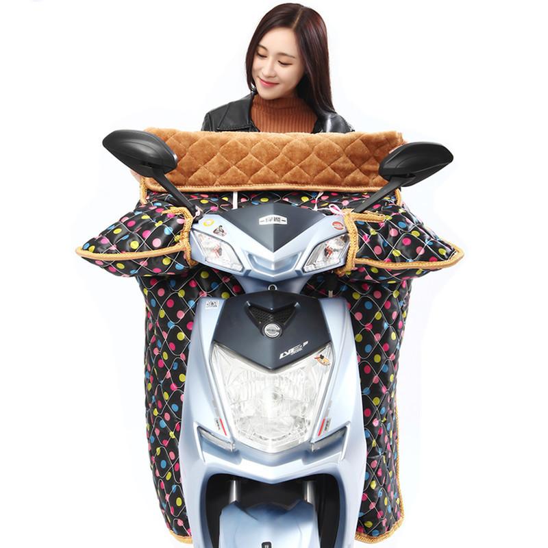 电动摩托车挡风被冬季加绒加厚电瓶车自行车防晒罩加大衣女电车秋
