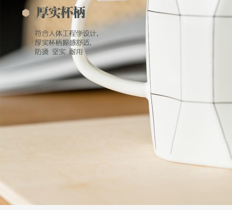 潮品情侣杯一对创意陶瓷水杯大容量马克杯子简约早餐咖啡杯带盖子勺详细照片