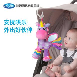 Playgro единорог ребенок путешествие ребенок автомобиль модель успокаивать прорезыватель плюш игрушка головоломка сцепление погремушки