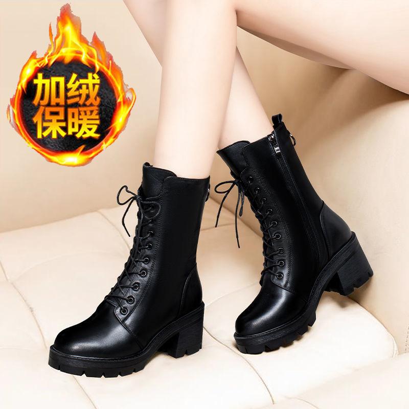 秋冬2020新款靴子女马丁靴时尚潮中筒短靴粗跟加绒保暖高跟女靴子