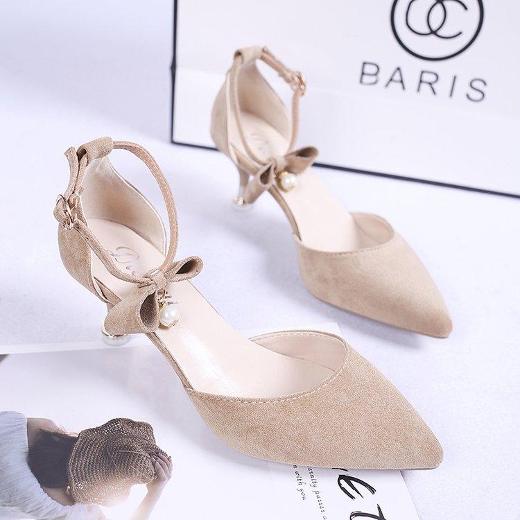 夏季包头一字式扣带绒面细跟女鞋