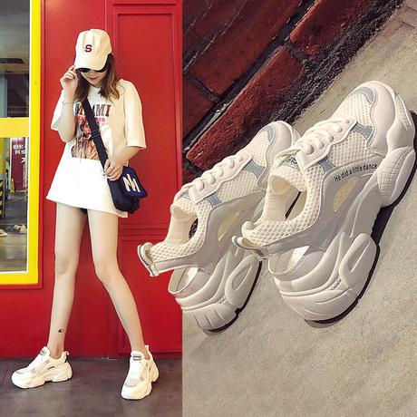 | Цена 4493 руб | Ins сандалии женские спортивные сетчатые туфли 2020 лето новая коллекция корейская  версия Матч воздухопроницаемый для отдыха на плоской подошве пакет Обувь Head Tide Daddy