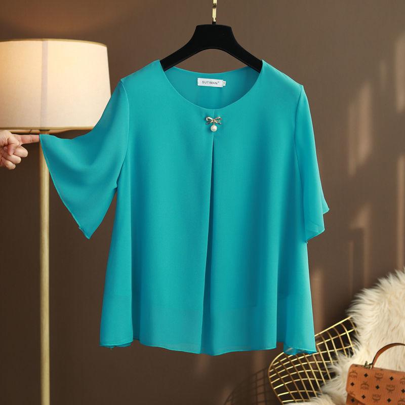 2021新款妈妈装大码雪纺衫T恤女短袖夏款宽松遮肚子显瘦洋气小衫