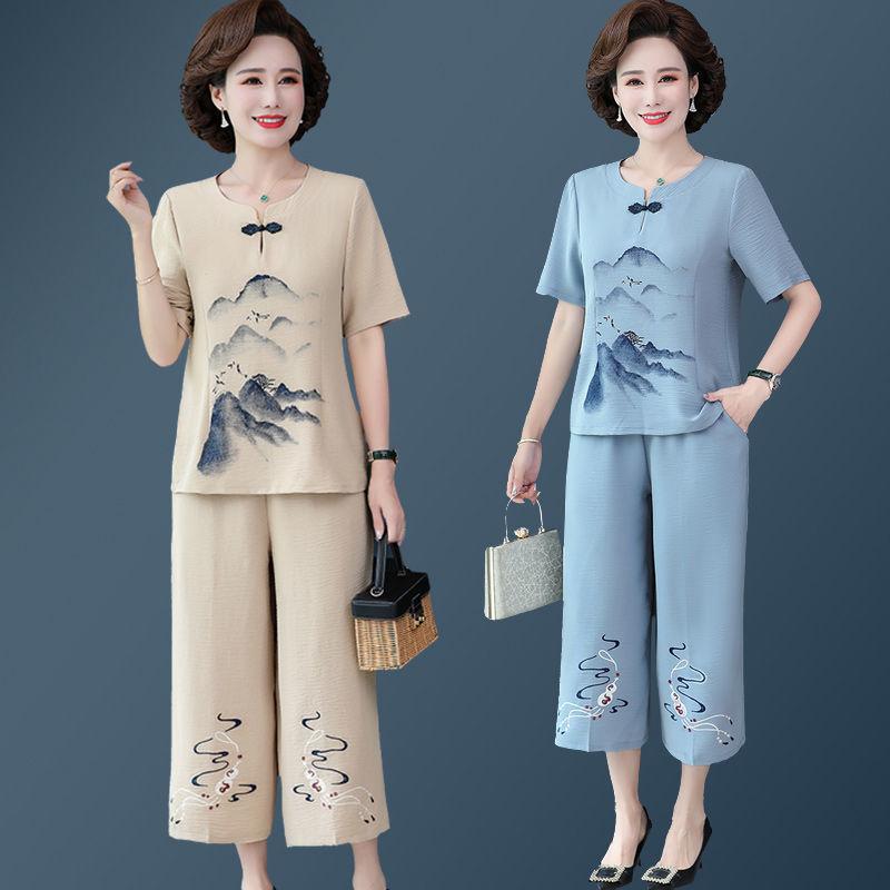 妈妈夏装棉麻套装洋气减龄5060岁中老年女宽松短袖t恤上衣两件套