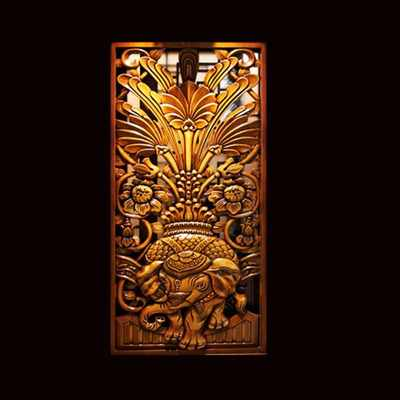 Dongyang wood carvings hollow porch isolated on white carved screen screen solid wood flower concierge board three-dimensional relief hand engraving