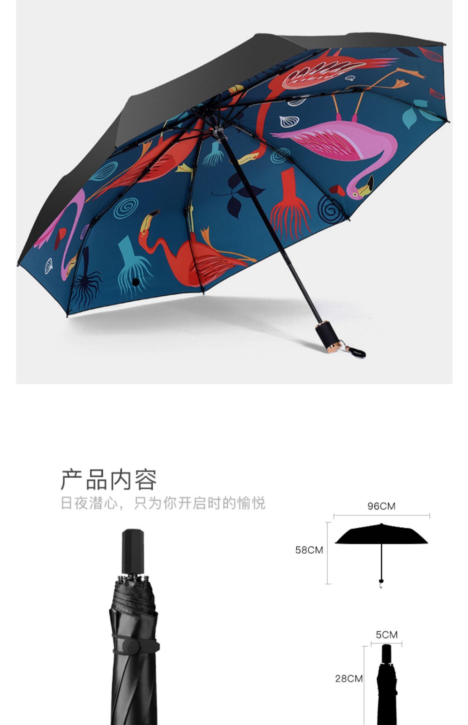 数码印花三折叠黑胶晴雨伞 12