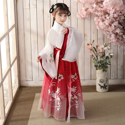 Childrens ancient dress Chinese Hanfu Girls Super fairy Tang suit 12 year old girl summer fairy elegant Ru skirt